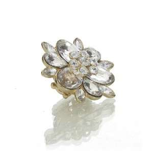 Clear Crystal Petals Large Flower Stretch Ring Jewelry