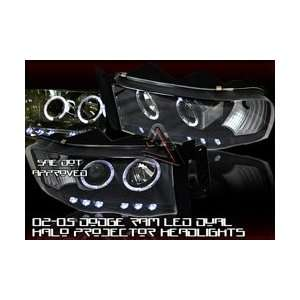 Dodge Ram Headlights Black Halo LED Pro Headlights 2002 2003 2004 2005