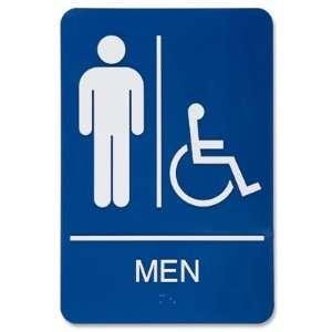 Mens Handicap Restroom Plastic Sign   Blue Office