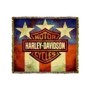 Harley Davidson American Flag Motorcycles Throw Blanket