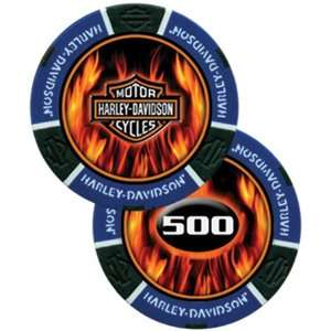 Harley Davidson Flame Poker Chip Blue   Sleeve of 25