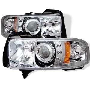 94 01 Dodge Ram Halo Projector Head Lights(Amber)   Chrome