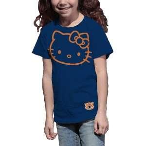 NCAA Auburn Tigers Hello Kitty Inverse Girls Crew Tee Shirt