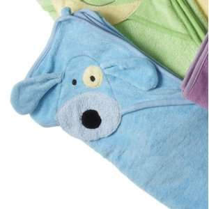 of 2 Monkeez and Friends Blue Hooded Cotton Puppy Dog Baby Bath Towels