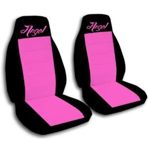 2 black and hot pink Angel car seat covers for a 2003
