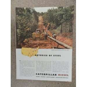Caterpillar Diesel, Vintage 40s full page print ad. (laying pipeline