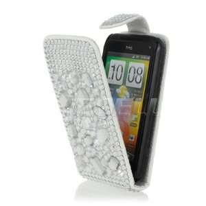 ON WHITE LEATHER BLING FLIP CASE FOR HTC INCREDIBLE S Electronics