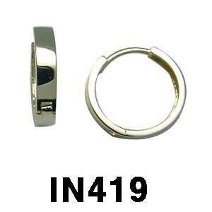 14k High Polished Plain Huggie Earrings (yellow gold) Jewelry