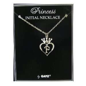 Jewelry Initial Necklace   Princess Crown Necklace