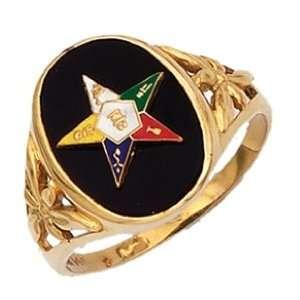 Ladies Vermeil Masonic Freemason Eastern Star Ring (Size 8) Jewelry