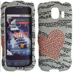 Hearts &Zebra Full Diamond Bling Case Cover for LG Optimus