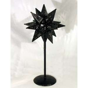 Small Candle Lighted Moravian Star on Table Top Stand