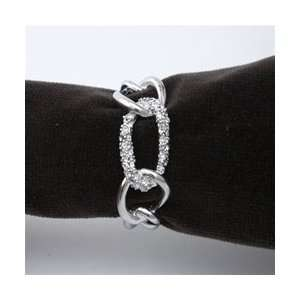 Objet Platinum Chain Napkin Rings,Swarovski Crystals Link, Set of 4
