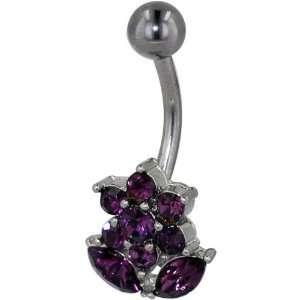 Navel Ring Amethyst Purple Austrian Crystal Flower Dangle Belly Navel