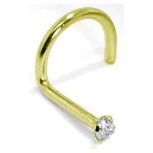 REAL DIAMOND 14kt Yellow Gold Jewel Nose Ring Twist / Screw Jewelry