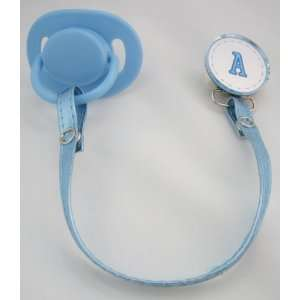 Blue Initial Pacifier Clip with Faux Leather Strap Baby