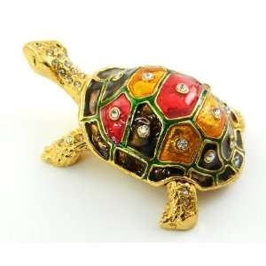Turtle Treasured Trinket Box Faberge Style Gold Plated Hand Painted