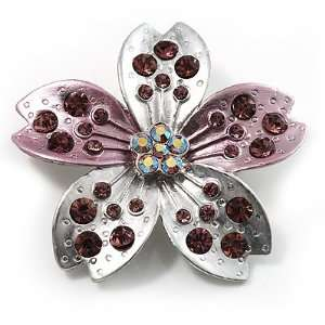 Enamel Crystal Flower Brooch (Pink&Silver) Jewelry