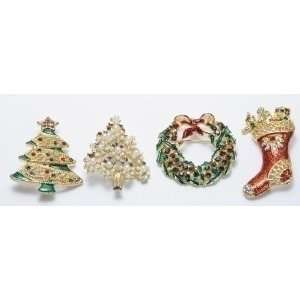 24 Christmas Jewelry Tree/Wreath/Stocking Holiday Pins Home & Kitchen