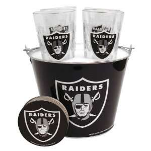 Oakland Raiders NFL Metal Bucket, Satin Etch Pint Glass & Coaster Set