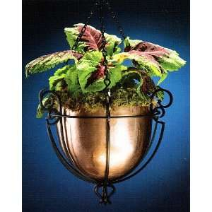 Hanging Basket Planter   Flat Black with Copper Bowl Home