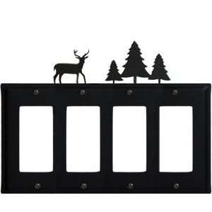 Iron EGGGG 203 Deer and Pine Trees   Quad GFI Cover Electronics