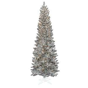 Pre Lit Silver Pewter Artificial Pencil Christmas Tree   Clear