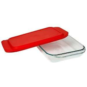 3 Qt Oblong Baking Dish with Red Plastic Cover in Clear