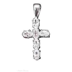 Silver Six Cubic Zirconia Christian Religious Cross Pendant Jewelry