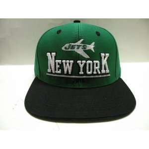 NFL New York Jets Bold Green Black 2 Tone Retro Snapback Cap