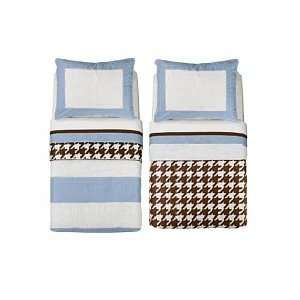 Bacati Metro Blue, White & Chocolate 4pc Toddler Bedding