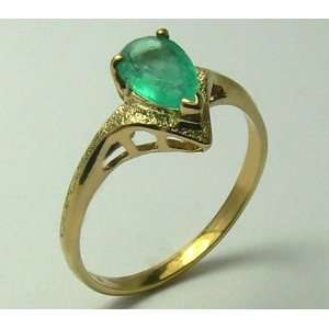 Beautiful Colombian Emerald & Gold Ring 1.10cts