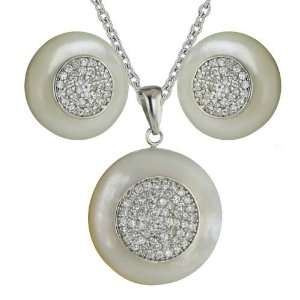 Sterling Silver White Mother of Pearl Round with Clear Cubic Zirconia