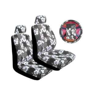 Grey Hibiscus 7 piece Lowback Seat Covers / Steering Wheel