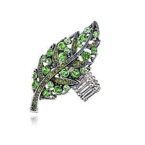 Large Silver Tone Green Crystal Rhinestones Leaf Tree Adjustable Ring