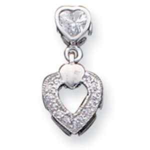 Sterling Silver CZ Heart Chain Slide Pendant Jewelry