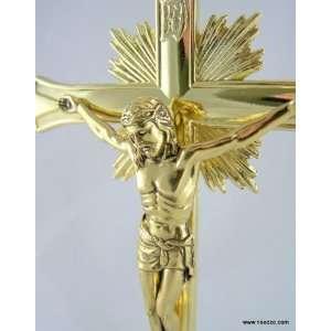 Plated Standing Catholic Christian Altar Church Decor Chapel Cross