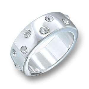 Stone Band Clear Swarovski Crystal Rhodium Ring, Size 5 10 Jewelry
