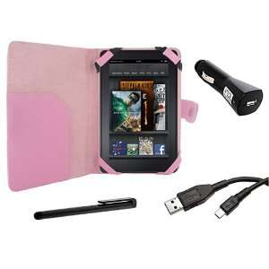 Cover Folio Leather Case (Pink) for  Kindle Fire Tablet PC