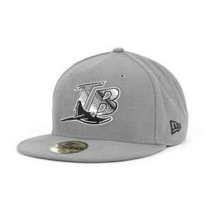 Tampa Bay Rays New Era 59Fifty MLB Gray BW Cap Hat Sports