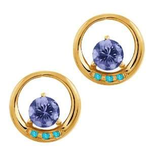 Ct Round Blue Tanzanite and Swiss Blue Topaz 18k Yellow Gold Earrings