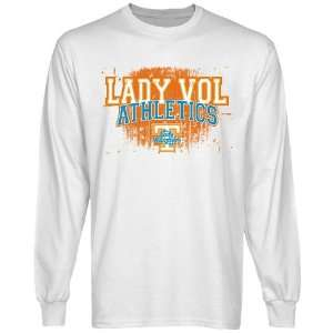 Tennessee Lady Vols White Halftone Long Sleeve T shirt