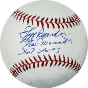Signed MLB Baseball with The terminator and 367 Saves Inscriptions