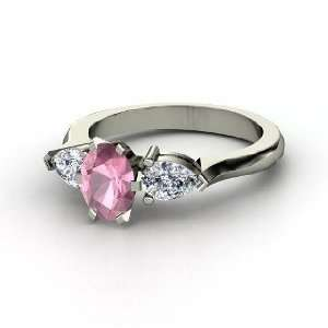 Oval Pear Ring, Oval Pink Tourmaline 14K White Gold Ring