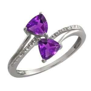 80 Ct Genuine Trillion Purple Amethyst Gemstone Argentium Silver Ring