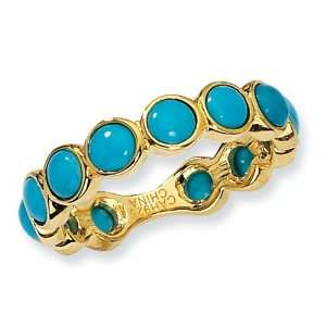 Gold plated Sterling Silver Simulated Turquoise Ring Size 8 Jewelry