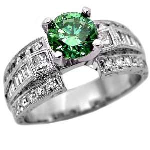 Green Round Diamond Engagement Ring Vintage Style 14k White Gold (5