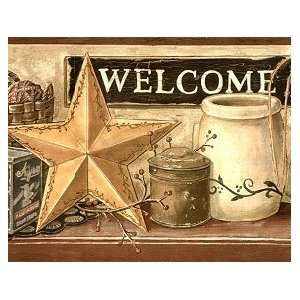 Country Welcome Sign Wallpaper Border