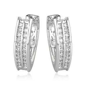 14K White Gold 1/2ct Round Diamond Rows Hoop Earrings Jewelry