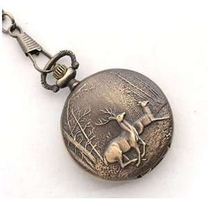 Brass Two Running Deer in Wood Love Couple Pocket Watch Necklace Chain